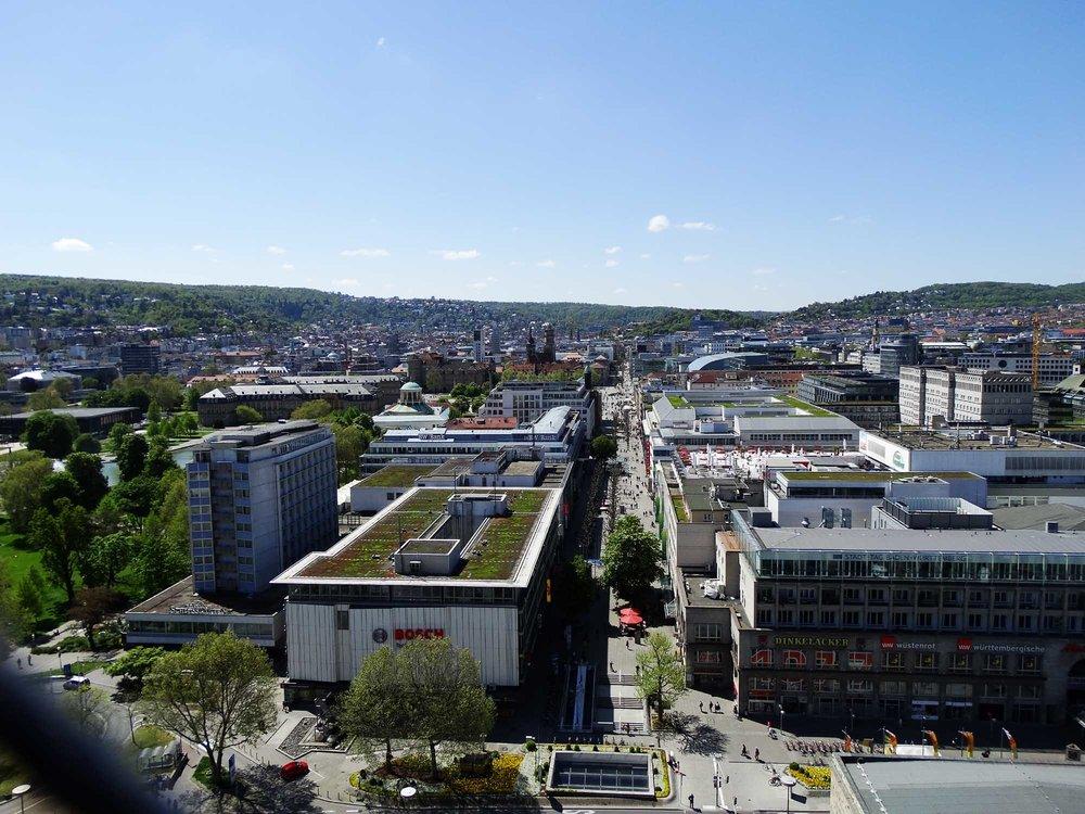 Stuttgart wärend einer geocaching tour vom Turm vom Hauptbahnhof aus