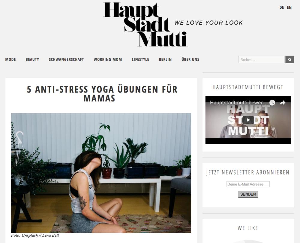 """Gastbeitrag Hauptstadtmutti.de """"5 Anti-Stress Yoga Übungen für Mamas"""""""