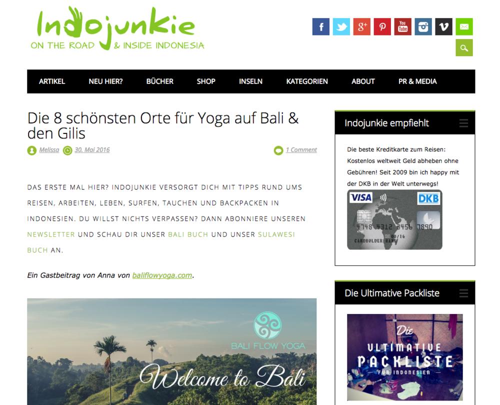 """Gastbeitrag Indojunkie.de """"Die 8 schönsten Orte für Yoga auf Bali & den Gilis"""""""