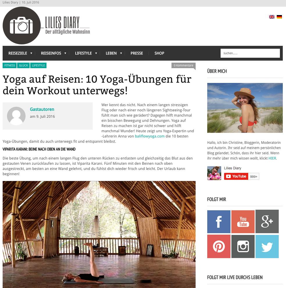 """Gastbeitrag Lilies Diary: """" Yoga auf Reisen: 10 Yoga-Übungen für dein Workout unterwegs!"""""""