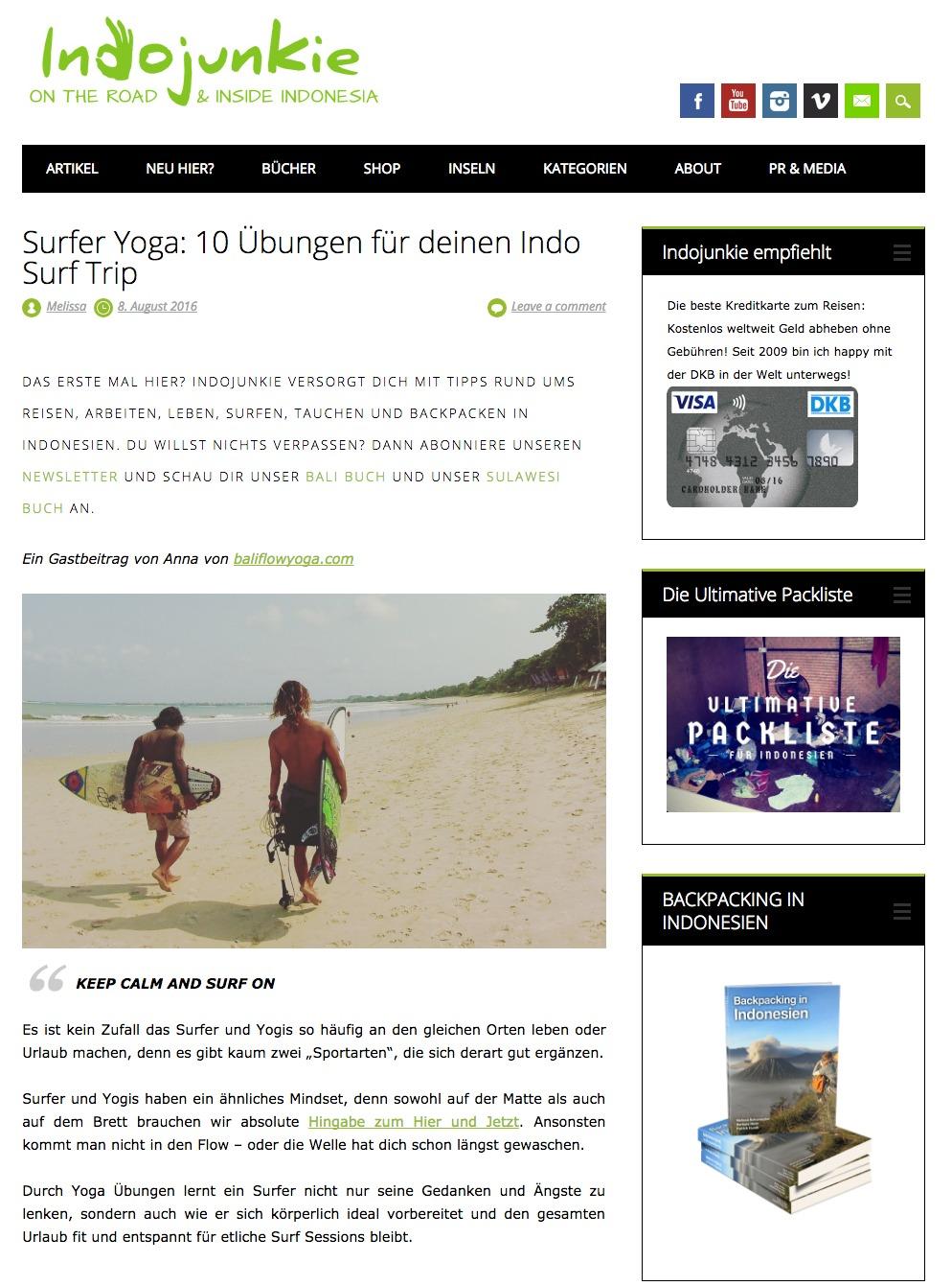 """Gastbeitrag Indojunkie.de: """"Surfer Yoga: 10 Übungen für Deinen Surf Trip"""""""