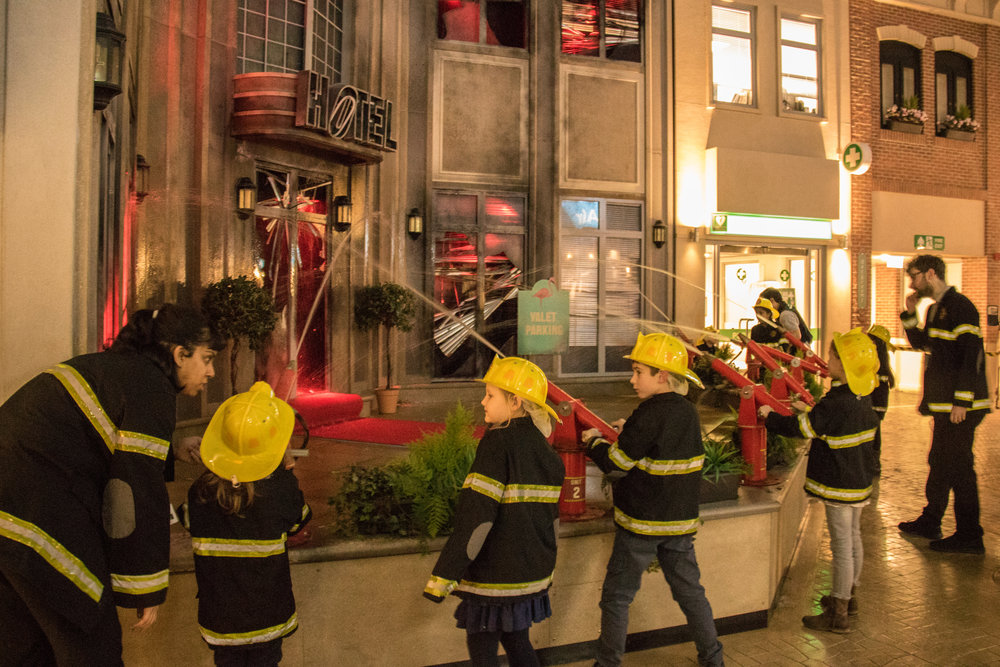 "Firemen at ""work"" at KidZania London"
