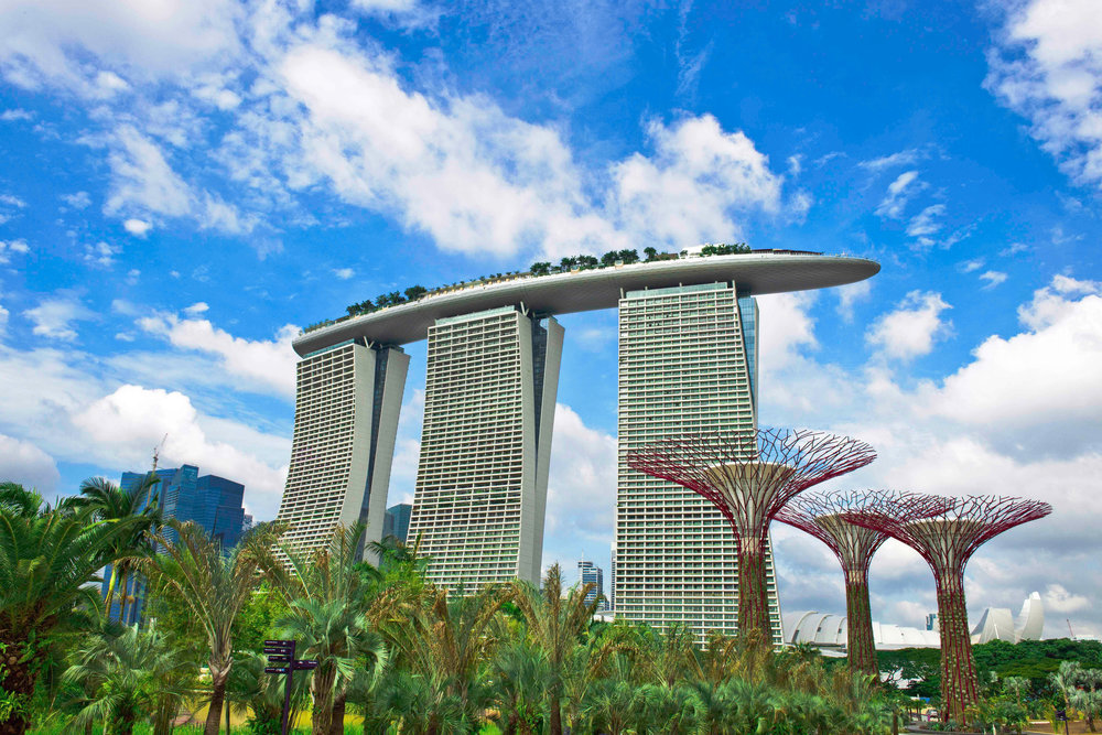 The unique architecture of Marina Bay Sands as well as the nearby Gardens By The Bay
