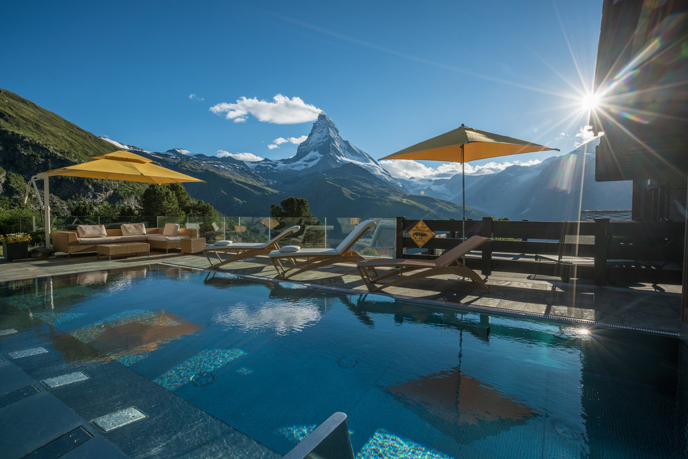 The outdoor pool, with not just any view...