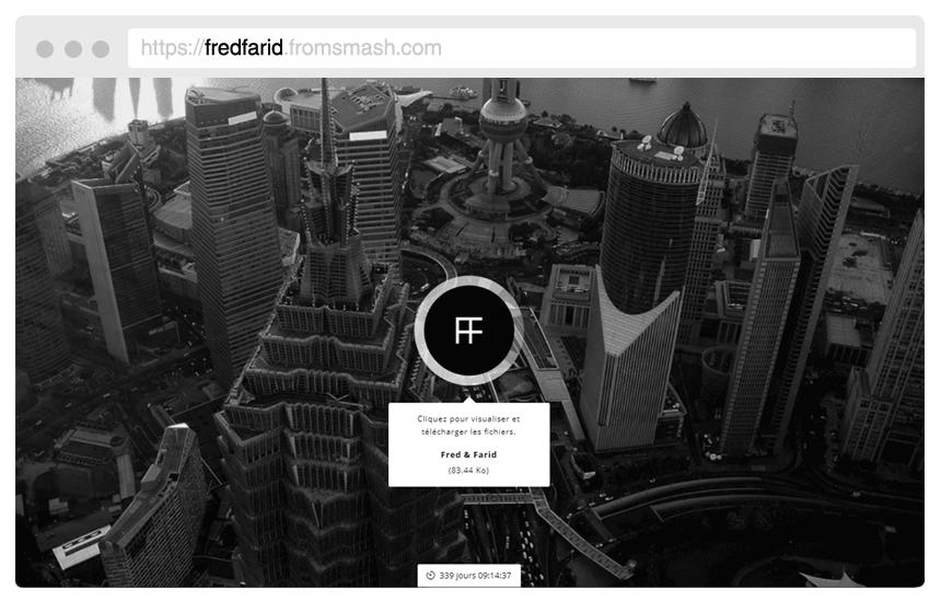 Votre identité visuelle. - Personnalisez Smash en insérant votre propre logo et fonds d'écran. Vous pouvez également personnaliser votre URL, vos e-mails envoyés avec vos fichiers mais aussi la page d'attente lors du téléchargement de vos fichiers. Découvrez comment certains utilisateurs personnalisent leurs transferts.