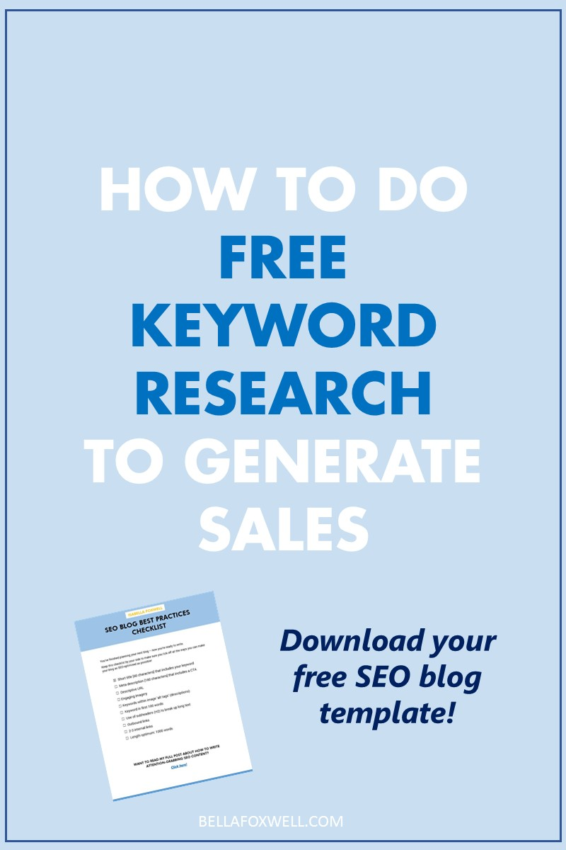 Free keyword research to generate sales