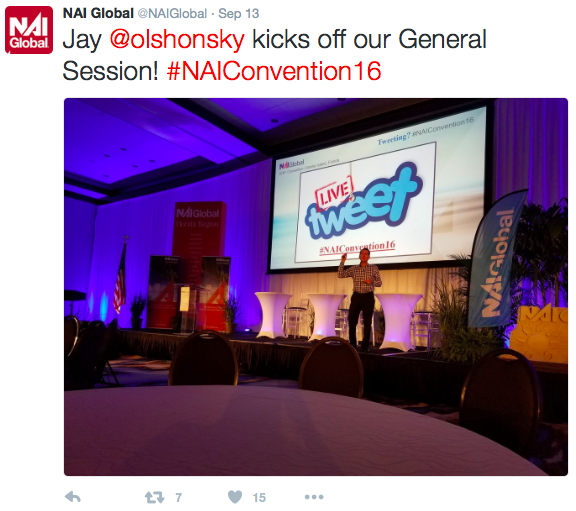 A September 13 tweet from NAI Global received 15 likes and seven shares thanks to including the president's twitter handle, an event hashtag, and a real-time photo from the conference.