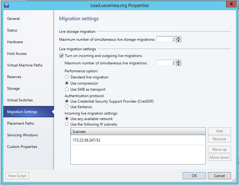 LM - SCVMM Migration Settings