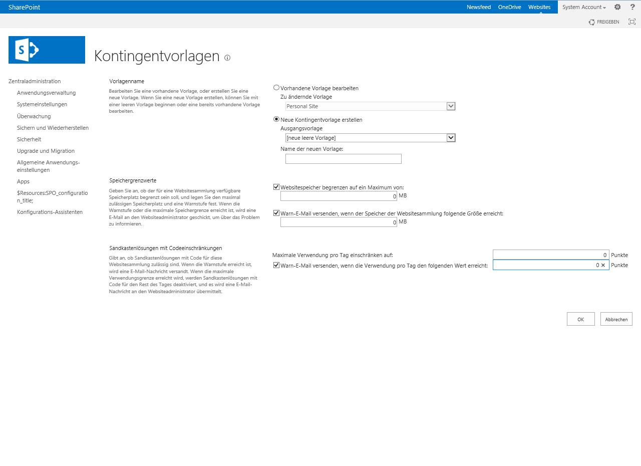 SharePoint 2013 Kontingentvorlagen — ESCde GmbH