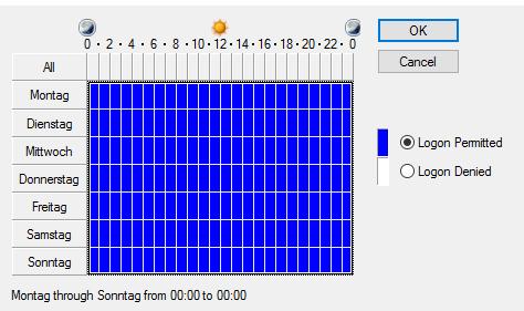 """Abbildung 1: """"Logon Hours Standard"""""""