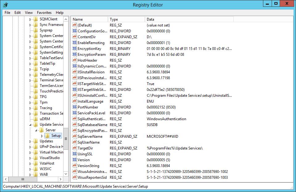Abb. 1: Konfiguration Quellserver - Registry