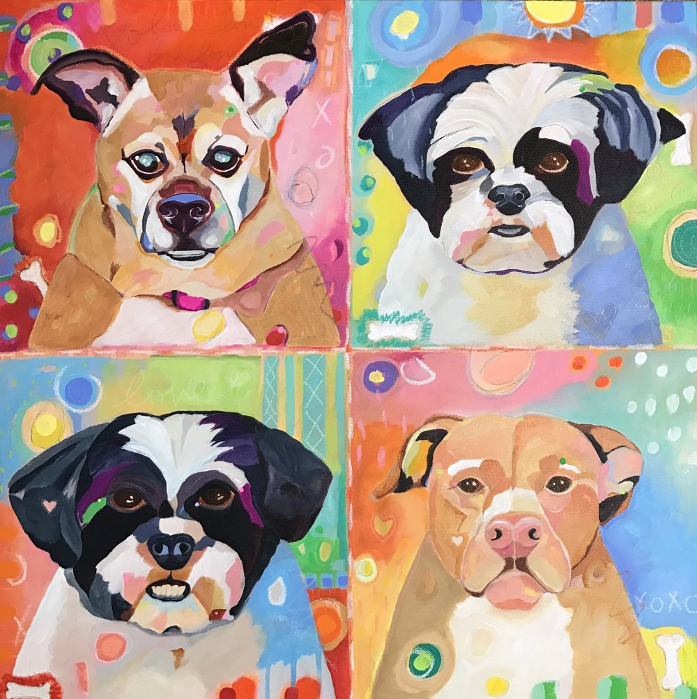 "A family of four beloved pups on 24"" x 24"" deep edge canvas. Commissioned as a birthday gift for a loved one in January 2017."