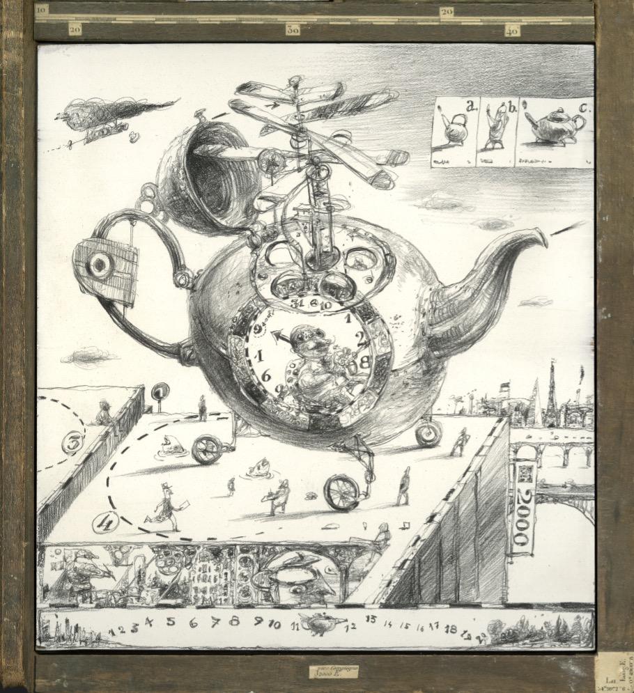 Jean Rostand dans l'hélicoptère (détail)