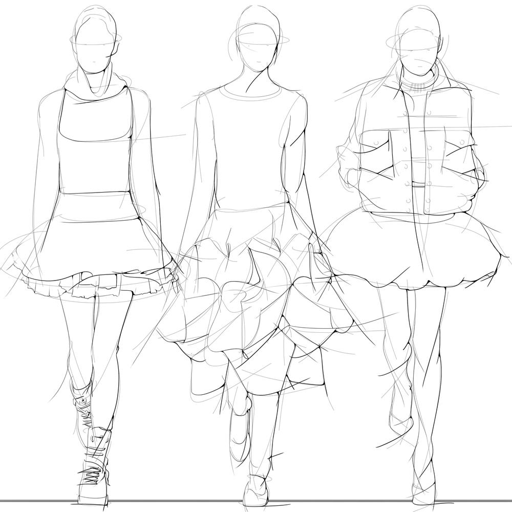 Left to right: Valentino, Junya Watanabe, Saint Laurent