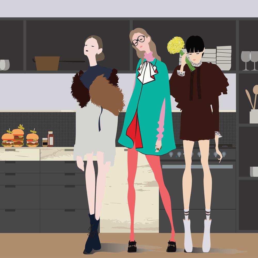 Left to right: Dior, Gucci, Vetements