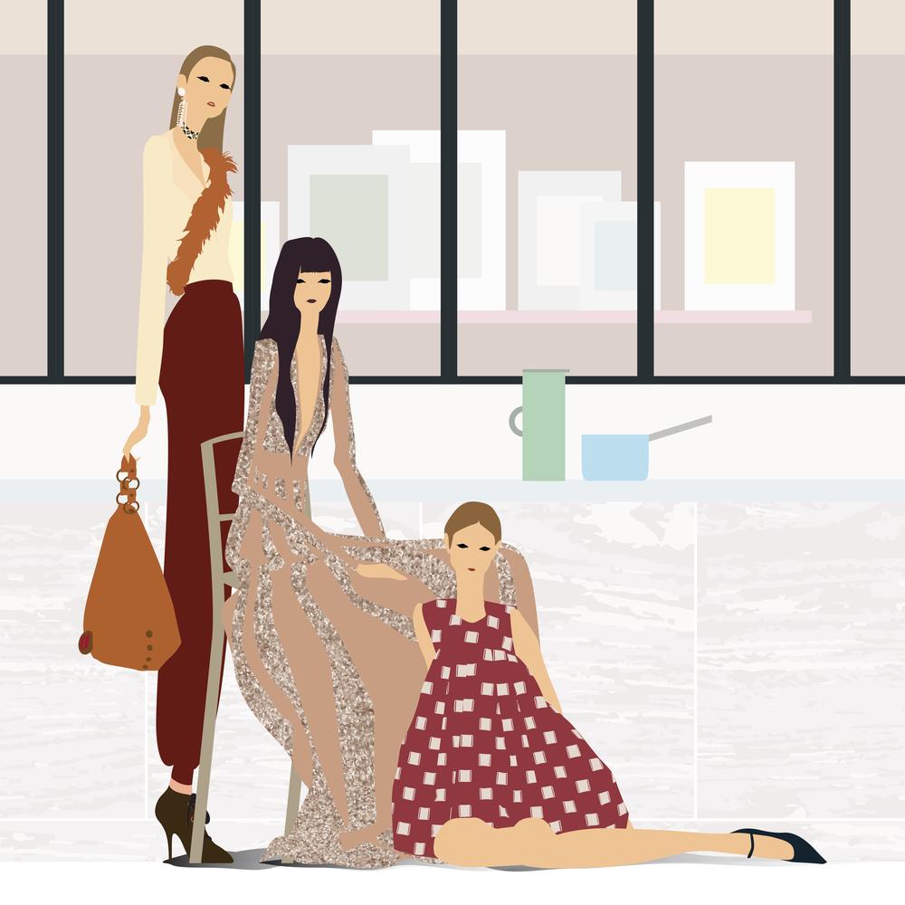 Left to right: Lanvin, Alexander McQueen, Armani