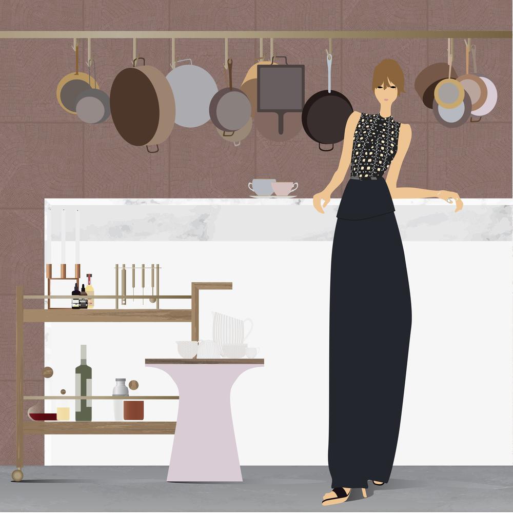 Dress: Azzedine Alaia, Jewelry: Eva Fehren, Shoes: Celine, Candelabra: Mogens Lassen, Bitters: Bittermans, Bob's Bitters, Scrappy's Bitters, Bar Kit: West Elm