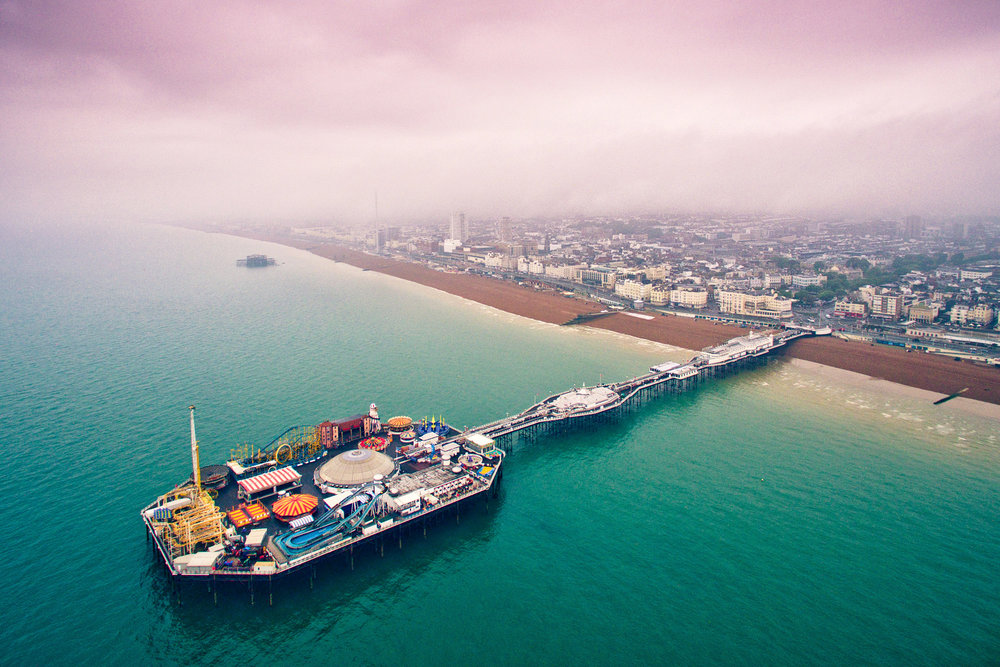 Brighton Pier from above, Brighton, East Sussex