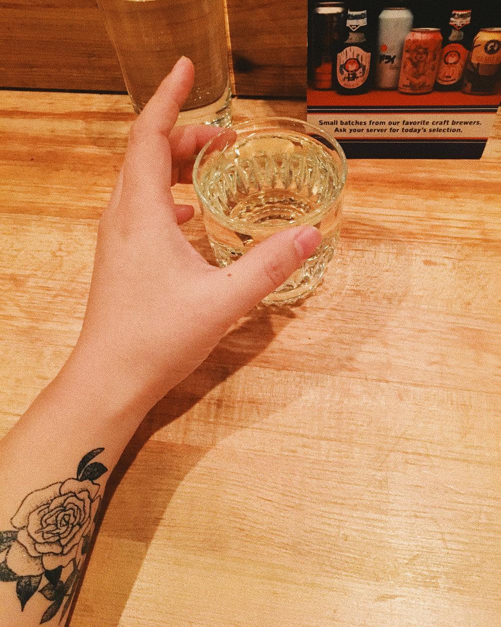 Hot sake at Ganso Ramen