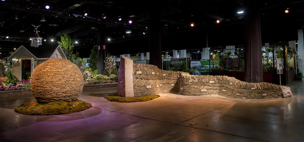 2016 Boston Flower Show Serpentine Wall and Sphere