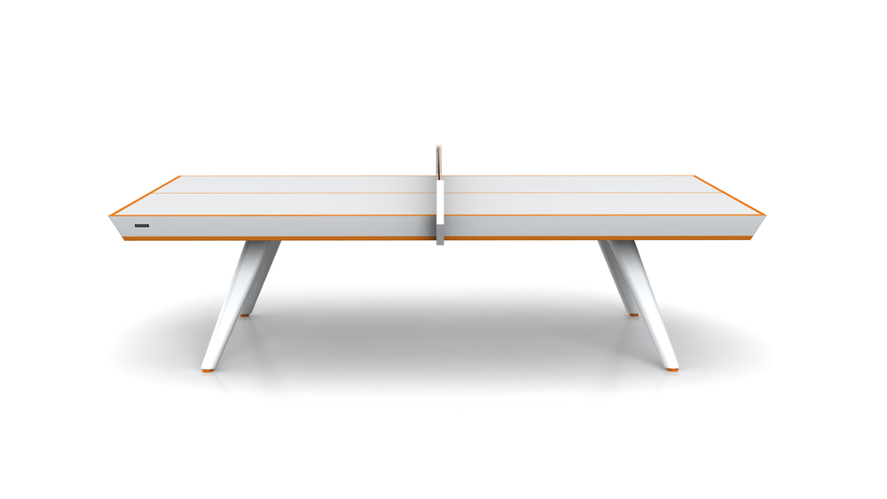 Hampton Table Tennis Table in White with Orange Accent