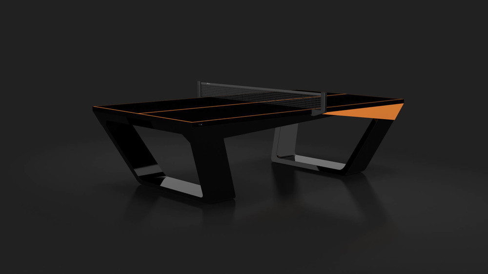 Avettore Table Tennis Table In Walnut And Black With Orange Accents ·  Avettore   Carbon Orange