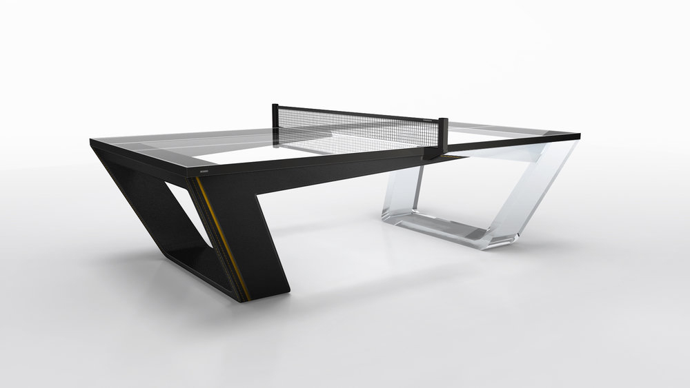 Elegant Avettore Table Tennis Table In Lucite And Black Leather