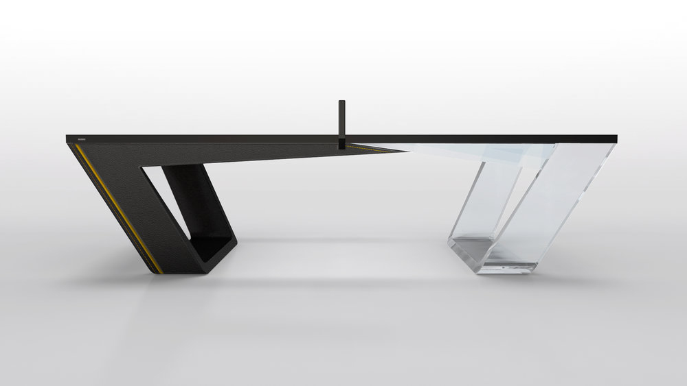 Avettore Table Tennis Table In Lucite And Black Leather
