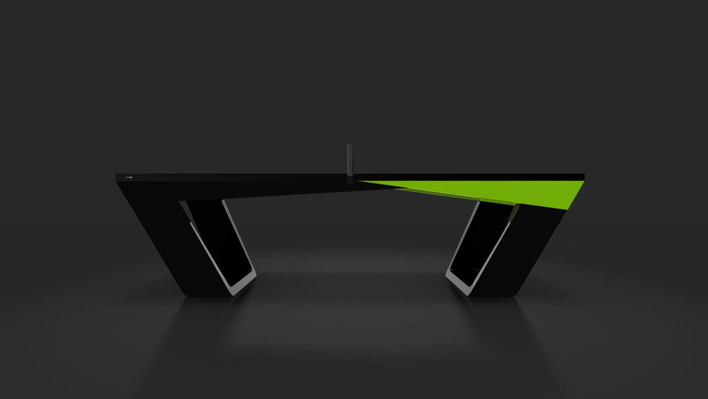 Avettore Table Tennis Table in Black with Lime Green Accents