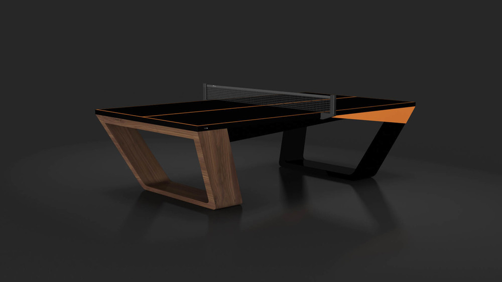 Avettore Table Tennis Table in Walnut and Black with Orange Accents