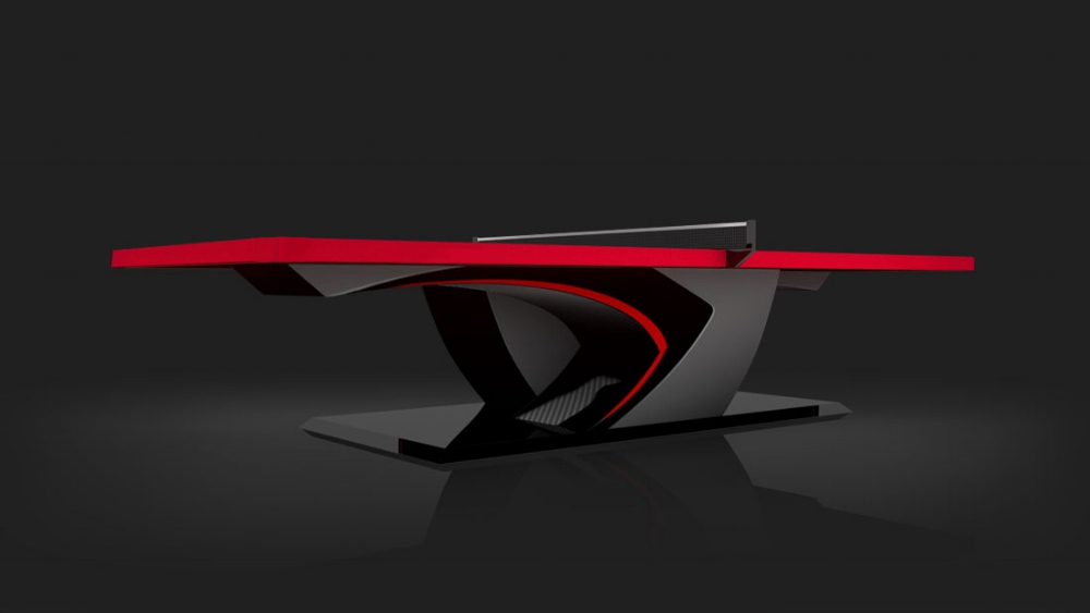 Force Table Tennis Table in Black with Red Accents