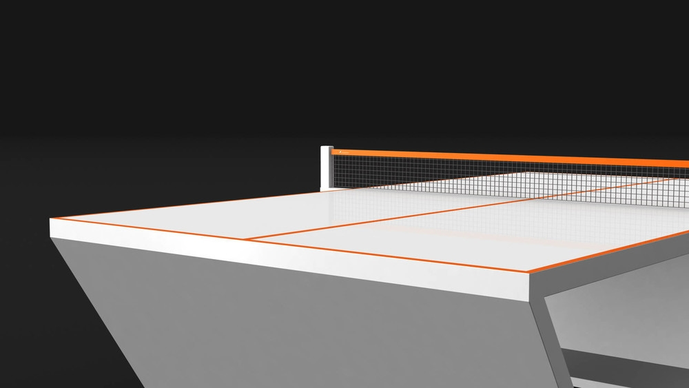 Cabaret Table Tennis Table in White with Orange Accents
