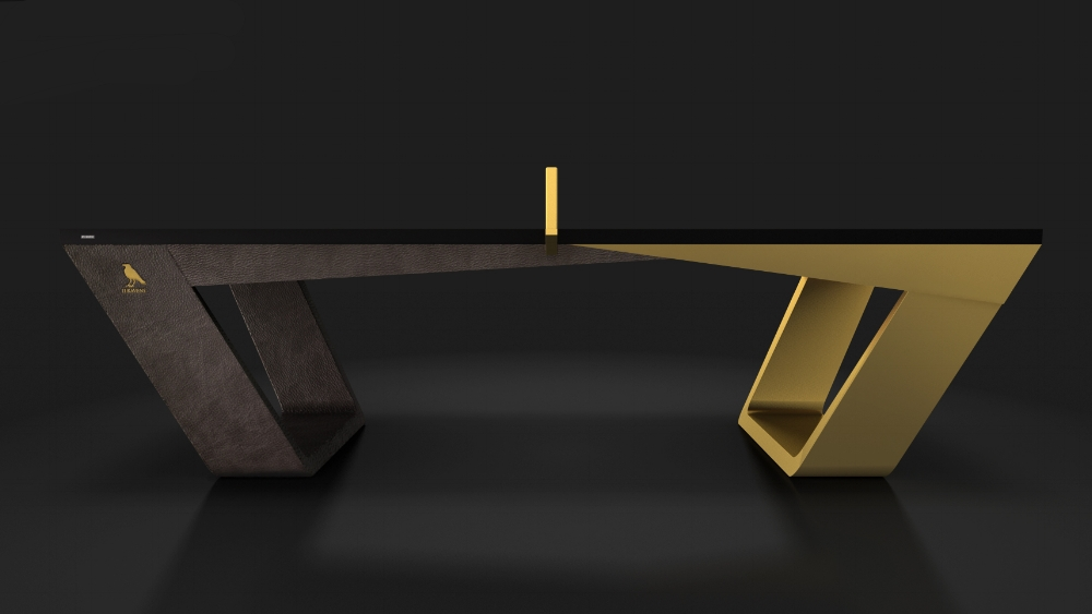Avettore Table Tennis Table in Leather and Brass