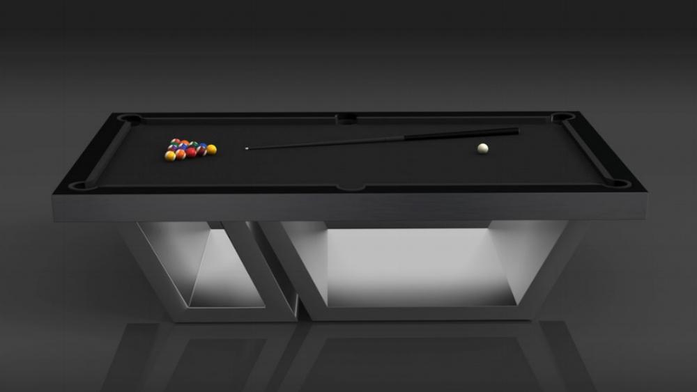 Titan Billiards Table in Brushed Aluminum
