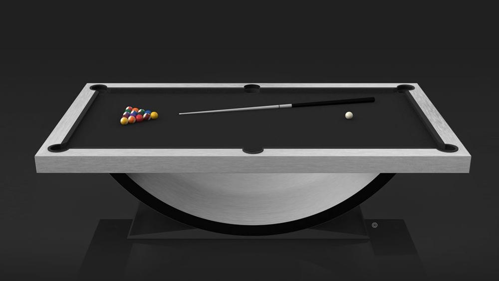 Theseus Billiards Table in Brushed Aluminum
