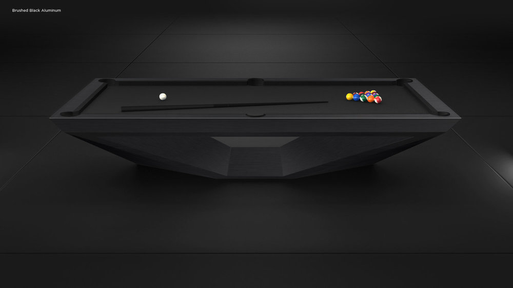 Stealth Billiards Table in Brushed Black Aluminum