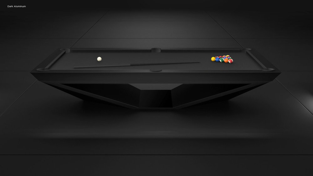 Stealth Billiards Table in Dark Aluminum