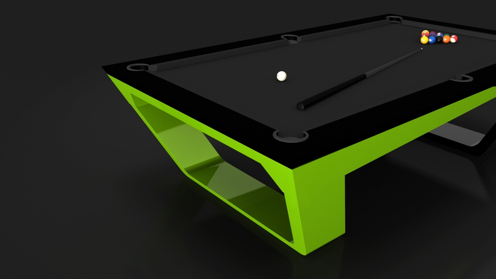 Avettore Billiards Table in Black and Lime