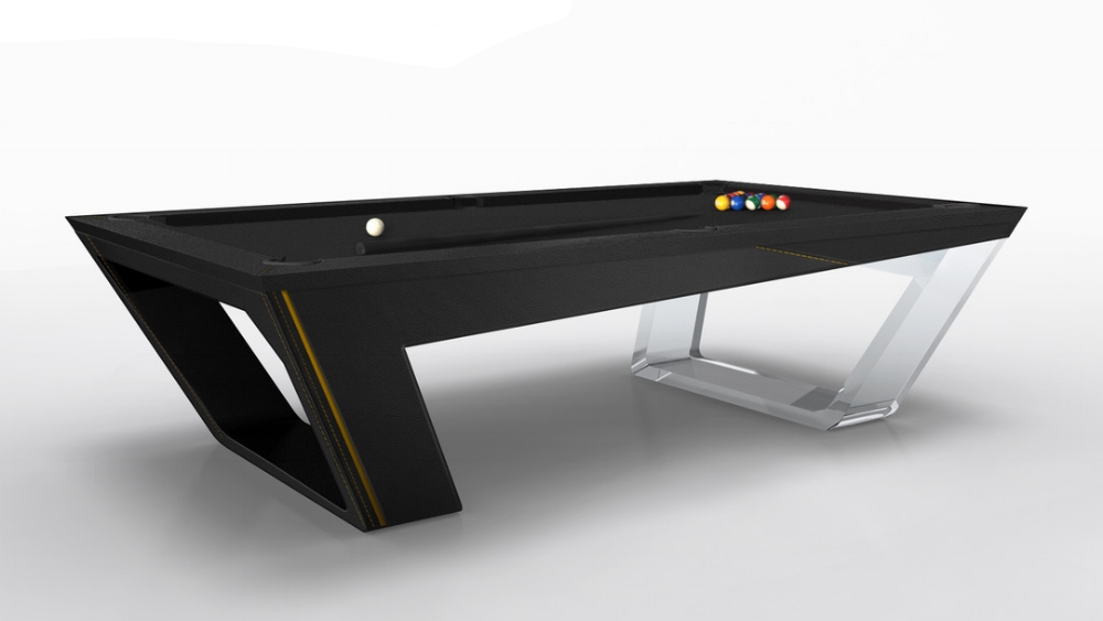 Avettore Billiards in Lucite and Black Leather
