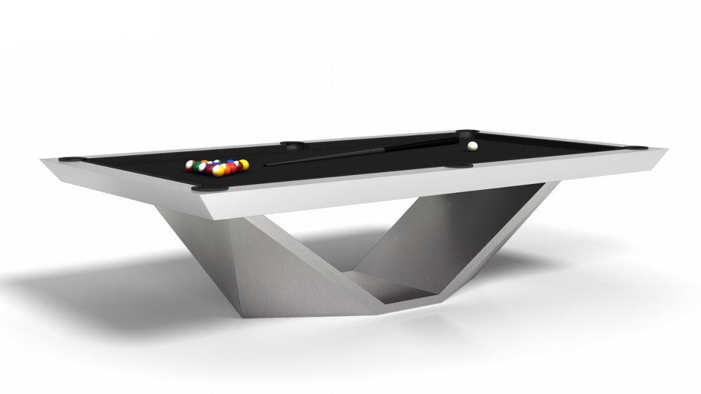 Stealth Billiards Table with a modified base in Brushed Aluminum