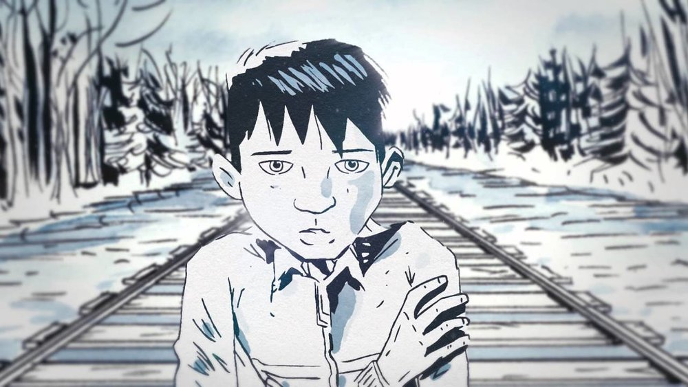 Chanie Wenjack as depicted in Secret Path, a graphic novel by Jeff Lemire with music by Gord Downie