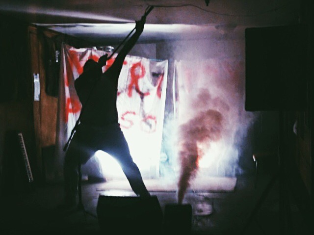 Lawrence Rivera channeling Freddie Mercury at The Lost Horse in Marfa.