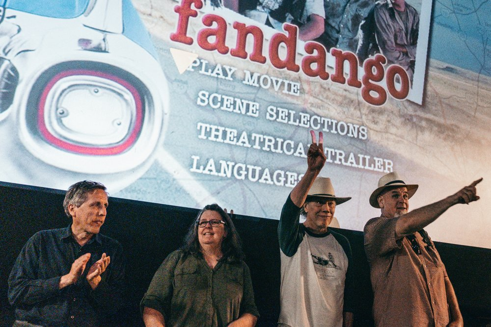 From left, Brian Cesak, Robyn Rose, Marvin J. McIntyre and Chuck Bush at the screening of Fandango at Rangra Theater in Alpine.