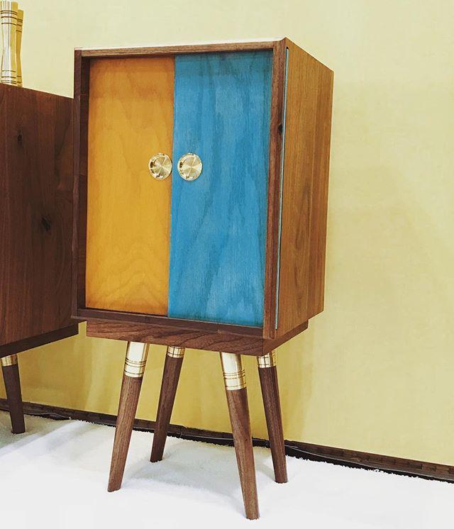 Beaker in full effect.  @icff_nyc #icff2018  Booth 2265  #icff #furnituredesign #design #mcm #inspired #brass #walnut #interiordesign #industrialdesign #furniture #madeinla #madeinusa #shoplocal #smallbusiness #handmade #midcenturymodern #custom