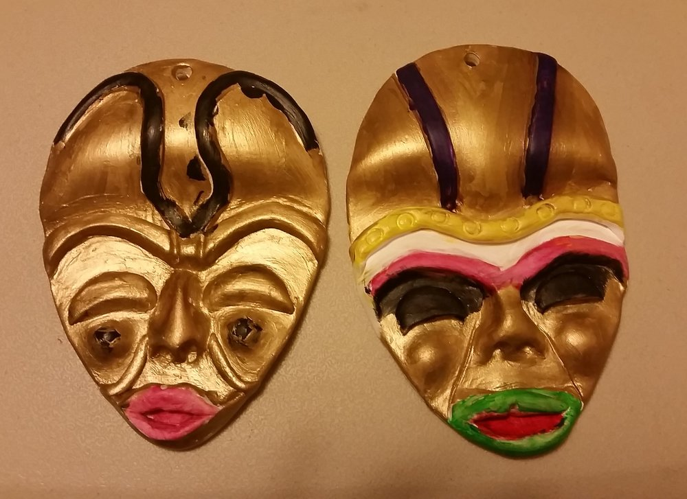 JJ & JB painted these masks during the 2015 Indianapolis Kwanzaa Celebration.