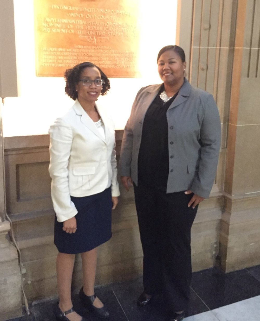 Educators Shawnta S. Barnes and Pennie Gregory at the Indiana State Capitol building to deliver testimony for HB 1421 School discipline