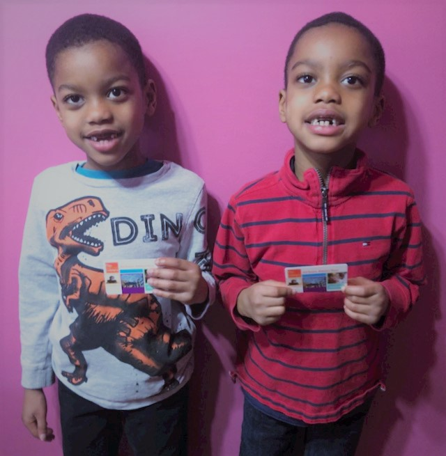 JB & JJ with their library cards.