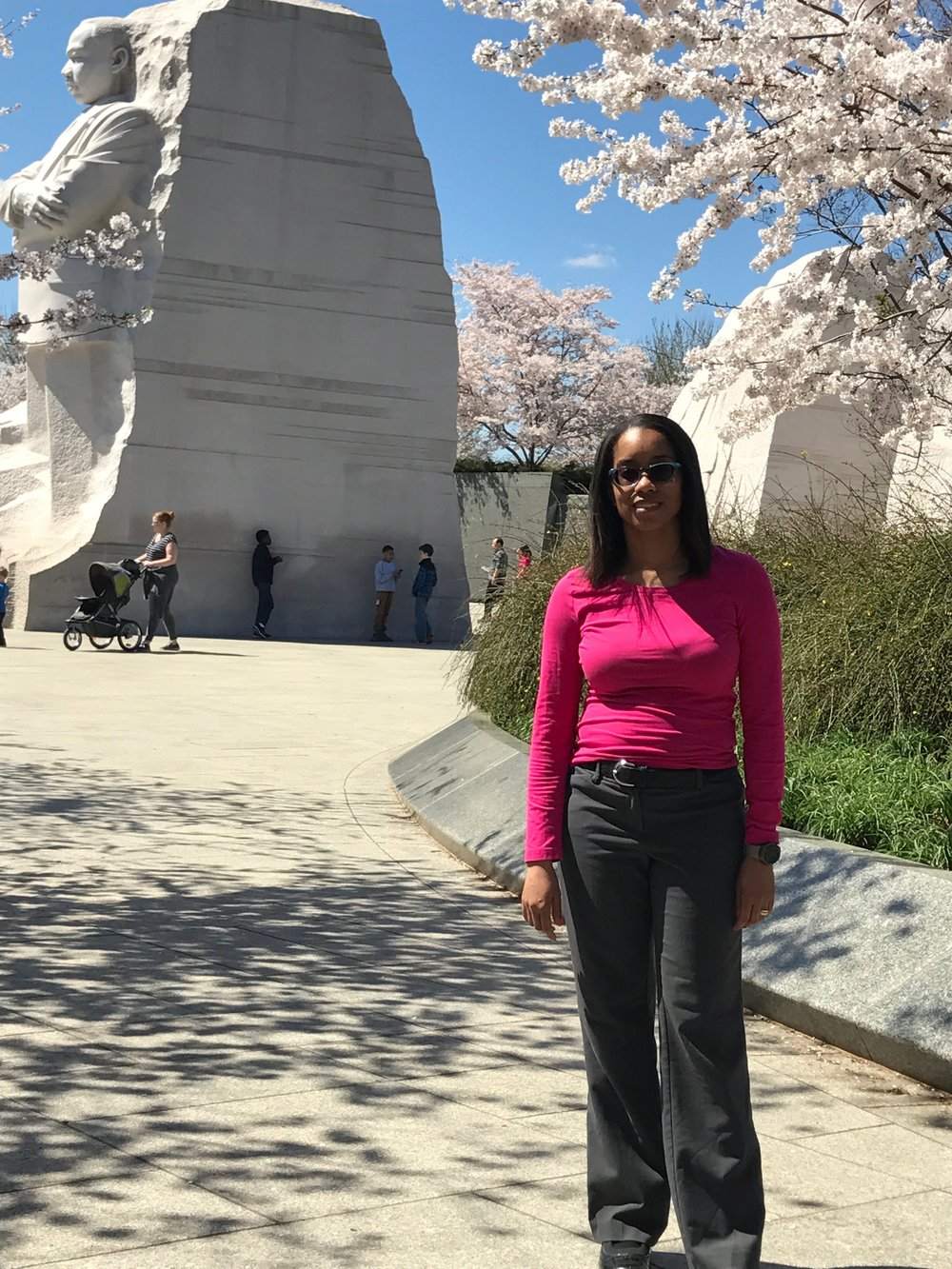 Educator Barnes at the Dr. King Memorial in Washington D.C.