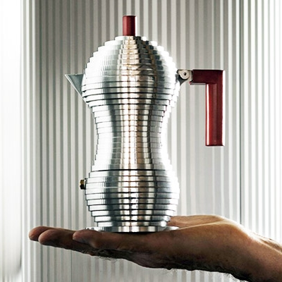 Alessi Pulcina Moka   Pulcina coffee maker, designed by Michele de Lucchi, is a revolutionary moka that combines the technology developed by illycaffè, using the design experience and manufacturing capabilities of Alessi, my former employer. Made of aluminium casting, Pulcina encapsulates a small but substantial design innovation: its shape that makes it possible to prepare a practically perfect coffee! Pulcina comes from a research entirely dedicated to the design and functionality of the espresso coffee maker. As a result of this study and the application of the technology developed by illycaffè, Pulcina is a high-performance coffee maker with a boiler that stops dispensing the drink at the right time before the coffee gets a bitter aftertaste. The perfect cup, made by you, at home.