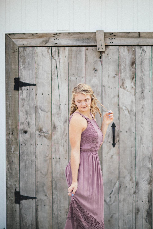 Corcoran Senior Photography girl wearing purple dress